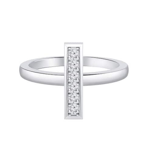 Auriya 0.10ctw Petite Vertical Diamond Bar Ring 14K Gold