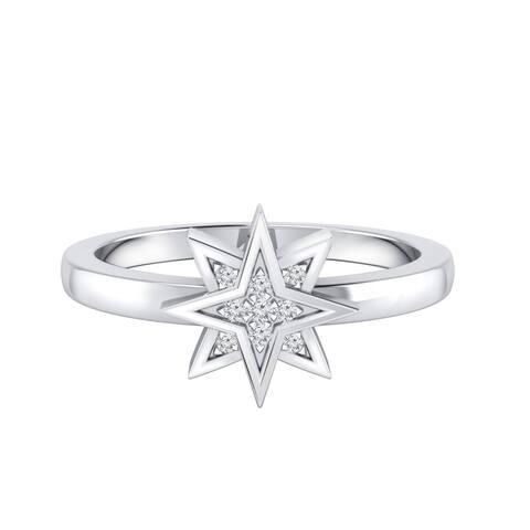 Auriya 0.03ctw Cosmic Micro-Pave Accent Diamond Star Ring 14K Gold