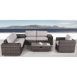 8 Piece Rattan Sectional Set with Cushions
