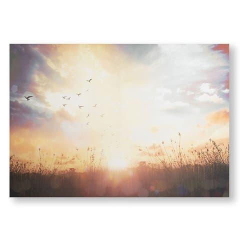 Serene Sunset Meadow Canvas Wall Art - Orange/Blue