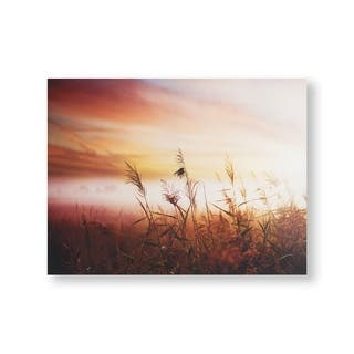 Morning Sunrise Meadow Canvas Wall Art - Red