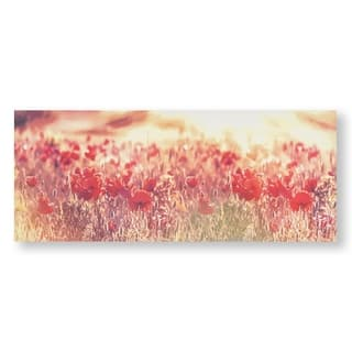 Peaceful Poppy Fields Canvas Wall Art - Red