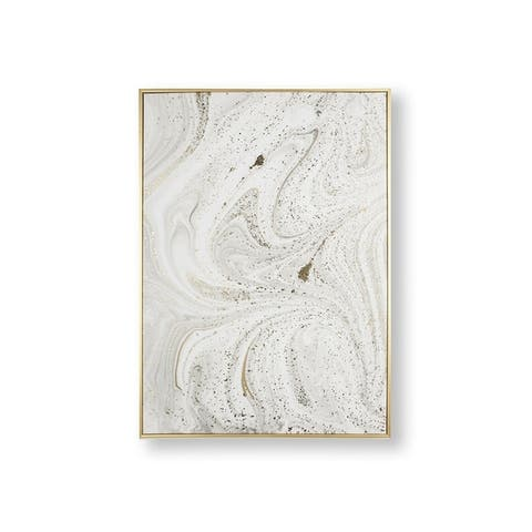 Marble Luxe Framed Canvas Wall Art - Light Grey/Gold