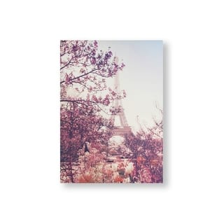 Paris In Bloom Canvas Wall Art - Pink/Blue