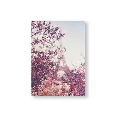 Paris In Bloom Canvas Wall Art - Pink/Blue
