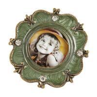 Saro Lifestyle Green Bejeweled Round Photo Frame