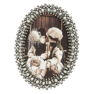 Saro Lifestyle Oval Bejeweled Photo Frame