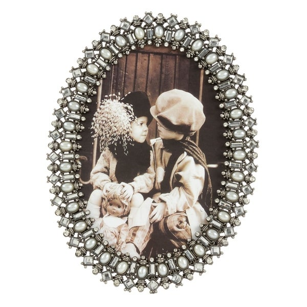 Saro Lifestyle Oval Bejeweled Photo Frame