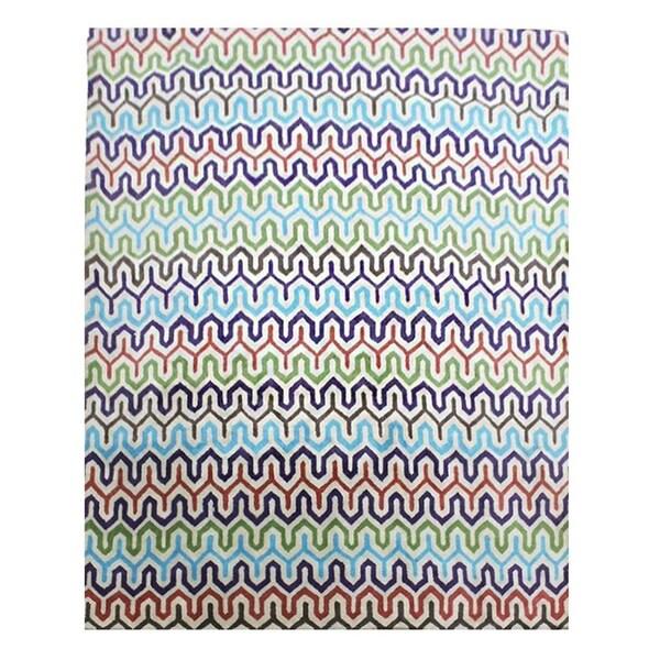 Huge Handmade Multi Color Geometric Wool Area Rug - 10' x 14'