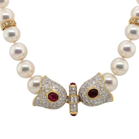 18K Yellow Gold Diamond and Rubies Extra Long Pearl Necklace