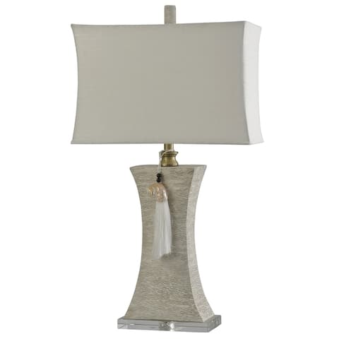 StyleCraft Kousa Wood Silver Clear Wood Grain Concaved Column Table Lamp with Decorative Tassel