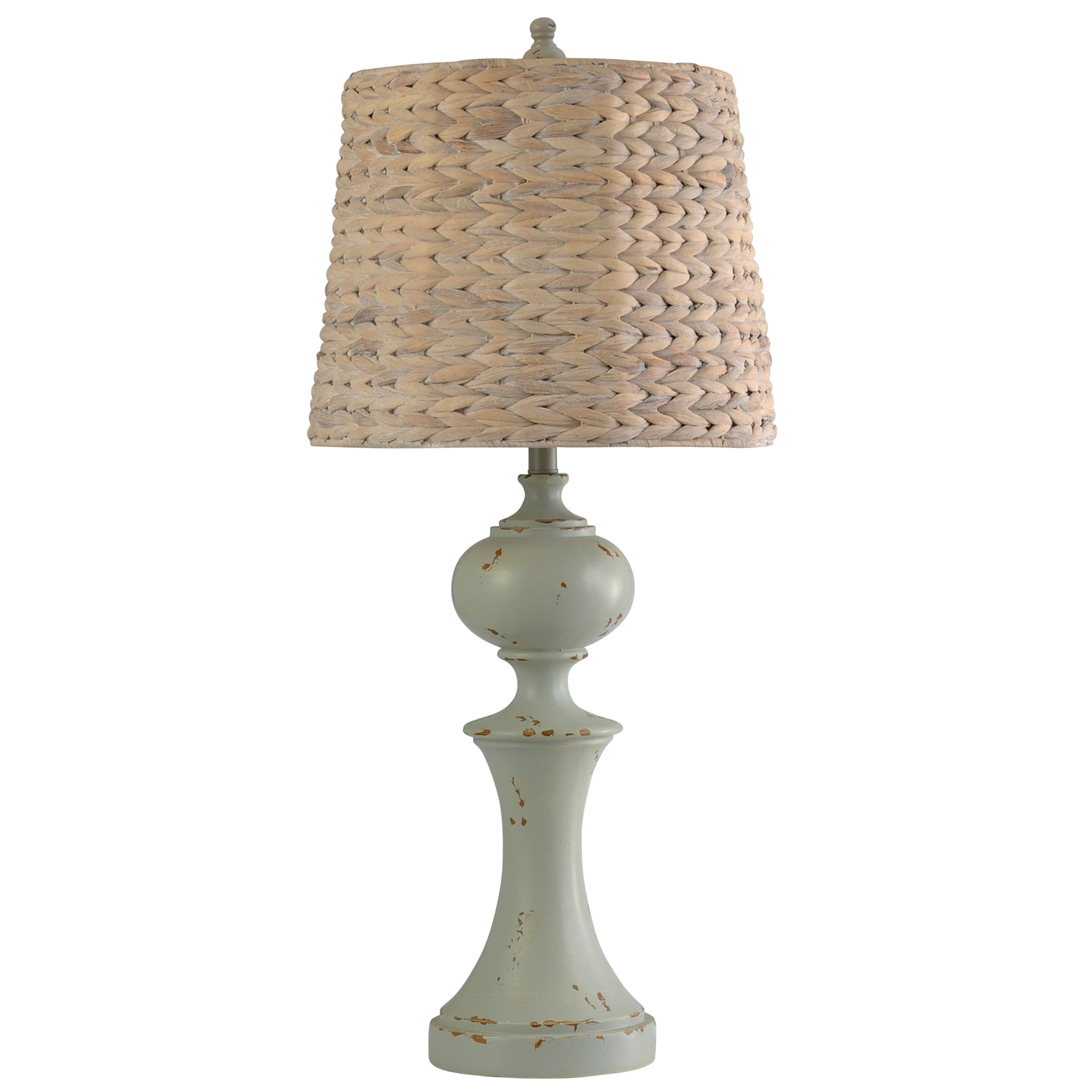 StyleCraft Basilica Sky Turned Style Table Lamp   Natural Seagrass Woven  Shade