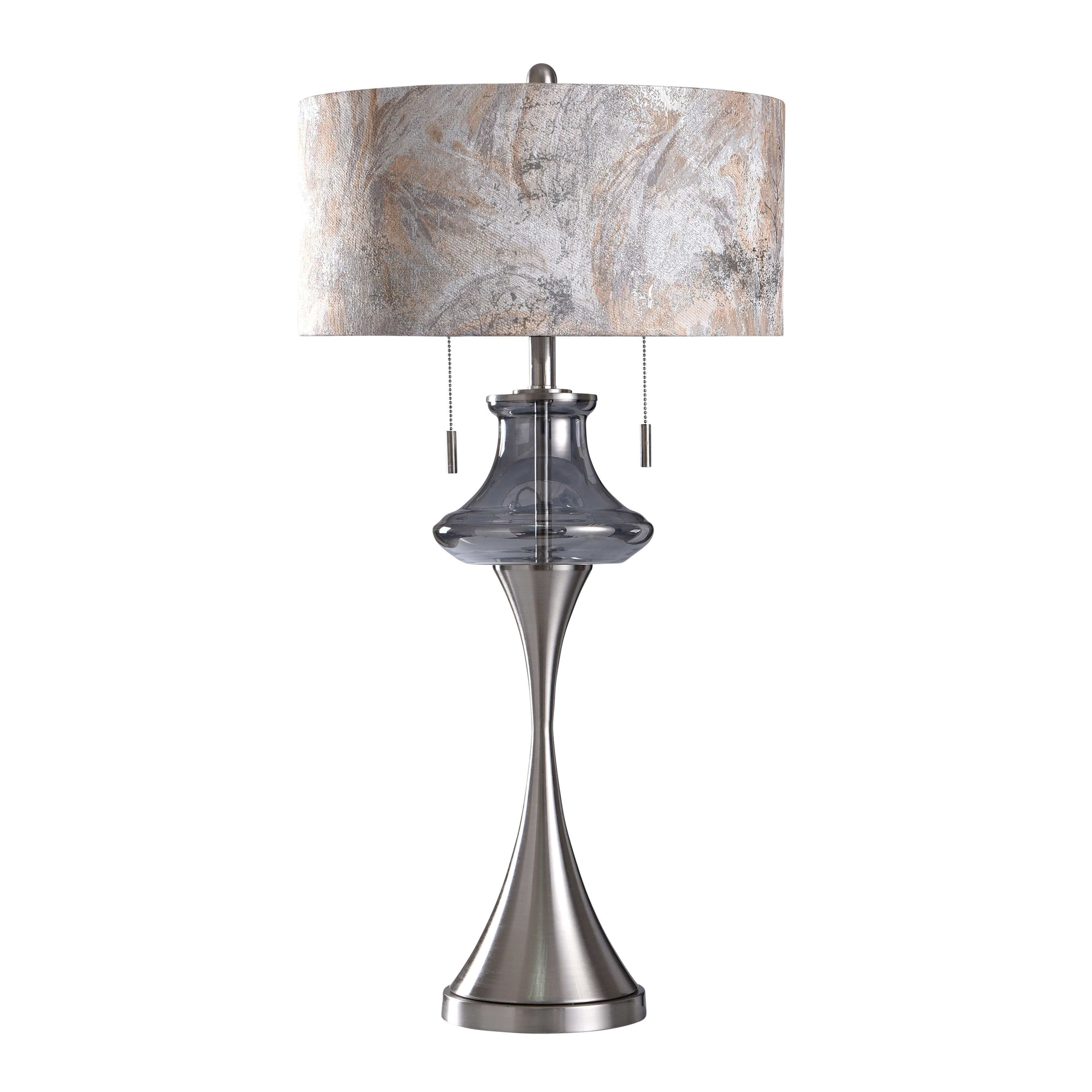 Stylecraft Callington Silver Twin Pull Chain Glass Drop Curved Metal Base Table Lamp Designer Shade Overstock 27704100