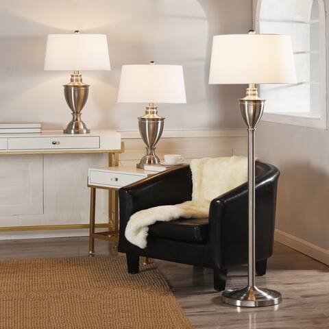 Copper Grove Shkoder Brushed Nickel Urn-shaped Floor and Table Lamps with Drum Shades (Set of 3)