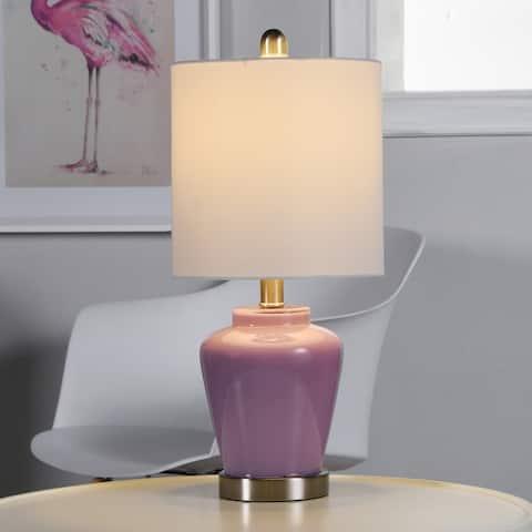 Porch & Den McKenna High Gloss Lilac Glass Ginger Jar Accent Lamp
