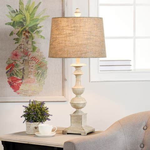 The Gray Barn Willowsun Distressed Off White Candlestick Footed Table Lamp