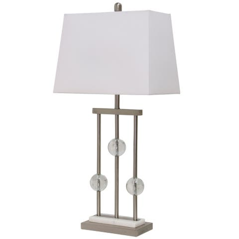 StyleCraft Hendon Brushed Steel Trio Post with Clear Acrylic Marble Table Lamp