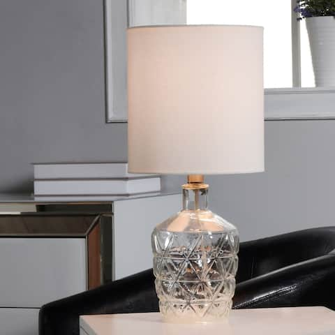 Silver Orchid Greiner Textured Diamond Pattern Glass Accent Lamp