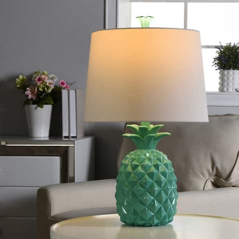 The Curated Nomad Green Pineapple Table Lamp with White Drum Shade