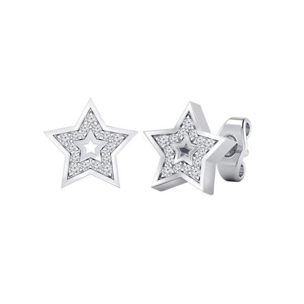 385c1e12b37 Shop Auriya 0.08ctw Star Shaped Micro-Pave Accent Diamond Stud ...
