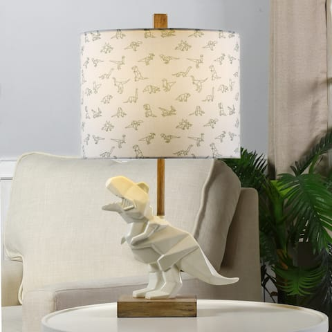 White Geometric T-Rex Dinosaur Table Lamp - Dinosaur Printed Drum Shade