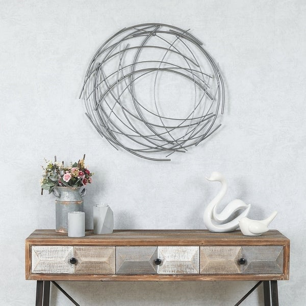 225 & Carbon Loft Abstract Iron Sticks Round Wall Decor