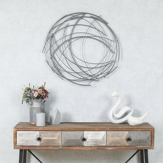 Carbon Loft Abstract Iron Sticks Round Wall Decor