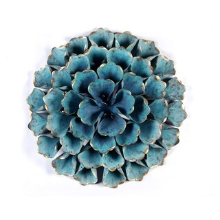 Link to Carson Carrington Mjugg Teal Metal Flower Wall Art Similar Items in Wall Sculptures