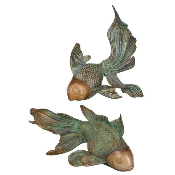 "Fish Tabletop Décor - Set of 2 - 12.5""L x 7""W x 8""H, 11""L x 5.5""W x 9""H"