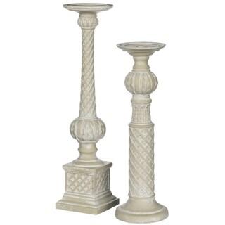"Roman Style Carved Pillar Candlesticks - Set of 2 - 5""L x 5""W x 20""H, 5.5""L x 5.5""W x 17""H"