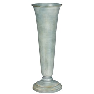 Painted Tall Blue Metal Fluted Vase