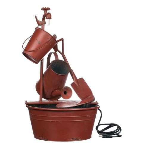 """Rustic Red Watering Can, Bucket, & Shovel Fountain - 16""""L x 18""""W x 27""""H"""