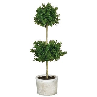 "Double Round Boxwood Topiary - Green - 9""L x 9""W x 21""H"