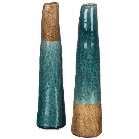 Blue & Brown Tall Bud Vases - Set of 2
