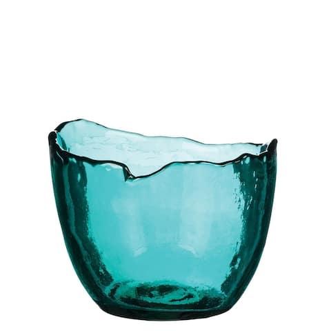 Teal Glass Scalloped Vase