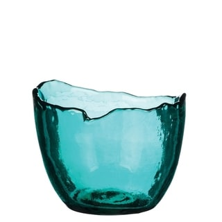 Teal Glass Scalloped Vase