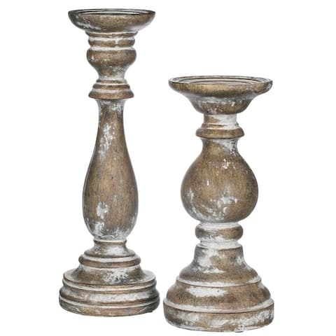 "Vintage Carved Wooden Candlesticks - Set of 2 - 5""L x 5""W x 15""H, 5.5""L x 5.5""W x 12""H"