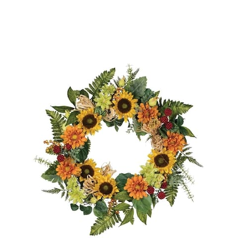 Sunflower, Zinnia, & Raffia Wreath