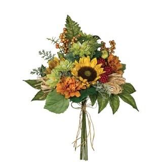 Sunflower, Zinnia & Raffia Bush