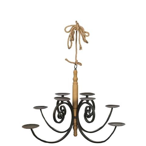 "Metal & Wood Hanging Pillar Candle Chandelier - 39""L x 39""W x 21""H"