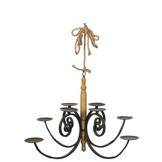"""Metal & Wood Hanging Pillar Candle Chandelier - 39""""L x 39""""W x 21""""H"""