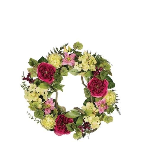 Peony, Clematis, & Hydrangea Wreath