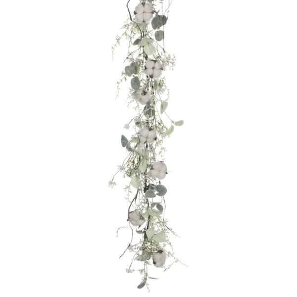 """Cotton & Eucalyptus Garland - White - 5'L x 5""""W x 12""""H"""