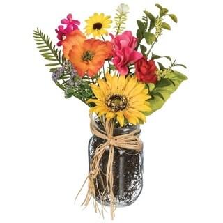 "Sunflower, Primrose, & Daisy Premade Arrangement in Jar - Multicolor - 10""L x 7""W x 12""H"