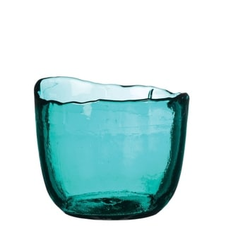 Teal Glass Scalloped Votive