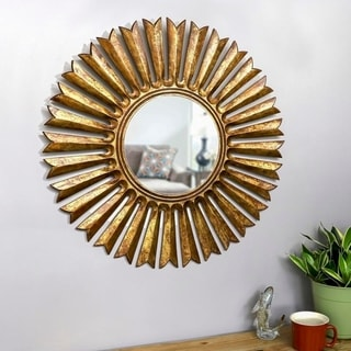 "Zana Antique Gold 30-inch Diameter Sunburst Wall Mirror - 30"" Dia."