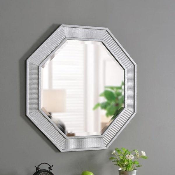 "Titus Galvanized 34-inch Height Octagon Wall Mirror - 34"" x 34"""