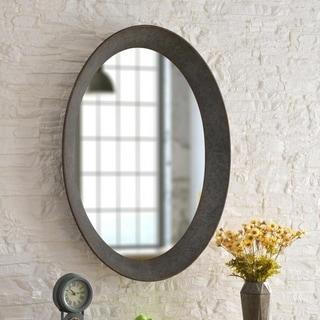 "Genevieve Galvanized 37-inch Height Oval Wall Mirror - 37"" x 27"""
