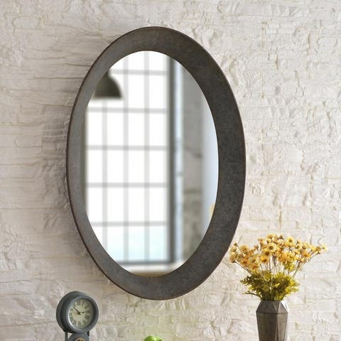 "Genevieve Galvanized 37-inch Height Oval Wall Mirror - 37"" x 27"""