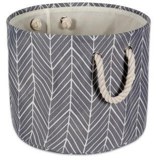 DII Round Herringbone Decorative Storage Bin